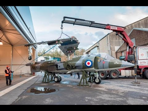 Air Race Harrier aircraft XV741 delivery to Brooklands museum Forces TV news piece