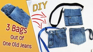 3 DIY Cute Bags Out Of One Pair Old Jeans - Recycle From Denim - Old Jeans Crafts Ideas