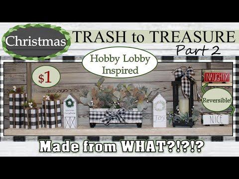BUFFALO CHECK FARMHOUSE CHRISTMAS | Trash to Treasure | DOLLAR DIYS