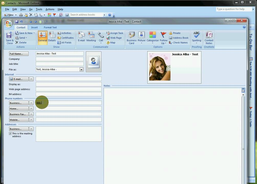 Outlook 2007 - Contacts Business Card Customization - YouTube