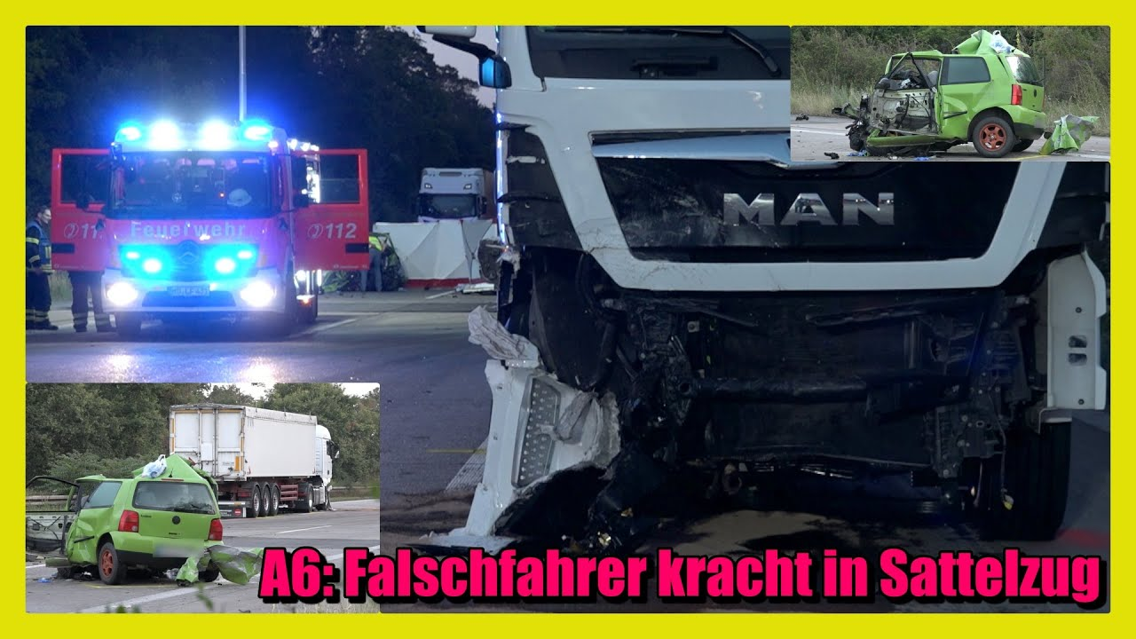 ++ A6: FALSCHFAHRER KRACHT IN SATTELZUG HÖHE REILINGEN ++ [Trümmerfeld auf der BAB]  - [E]