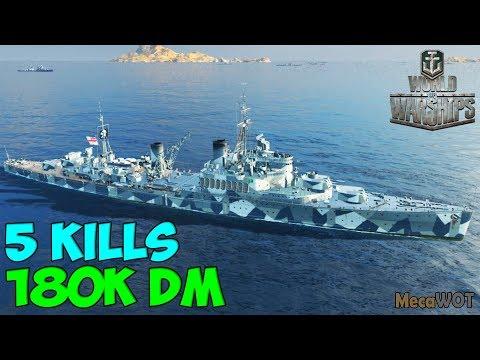 World of WarShips | Fiji | 5 KILLS | 180K Damage - Replay Gameplay 1080p 60 fps