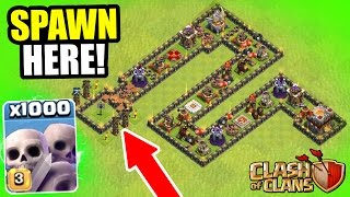 "Clash Of Clans - 1000 SKELETONS vs ""THE SNAKE"" TROLL BASE! - INSANE MASS GAME PLAY!"