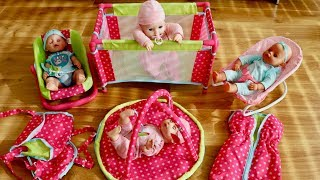 6 In 1 Nursery Set Unboxing Set Up and Pretend play with Baby Annabell Baby Born Lots Baby Dolls