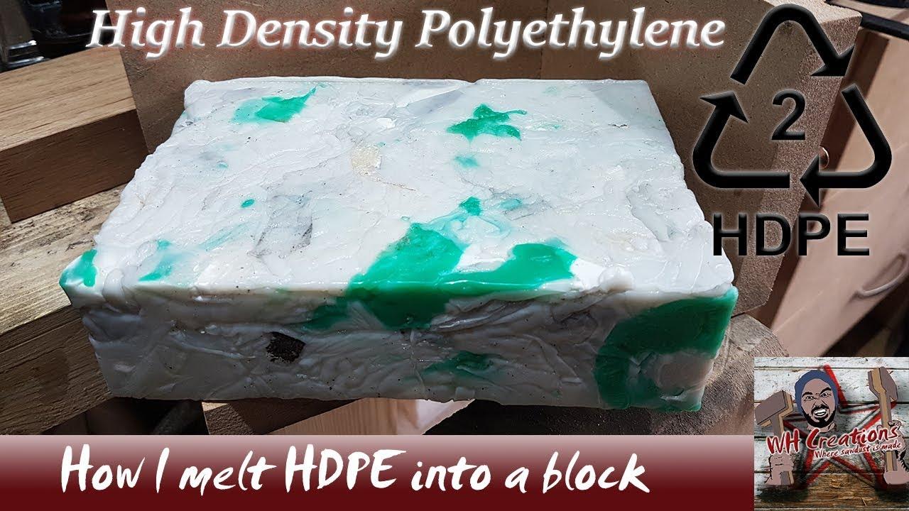 Melting high density polyethylene HDPE plastic into usable blocks