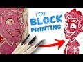 I Try BLOCK PRINTING: Cutting Lino into Art Stamps!
