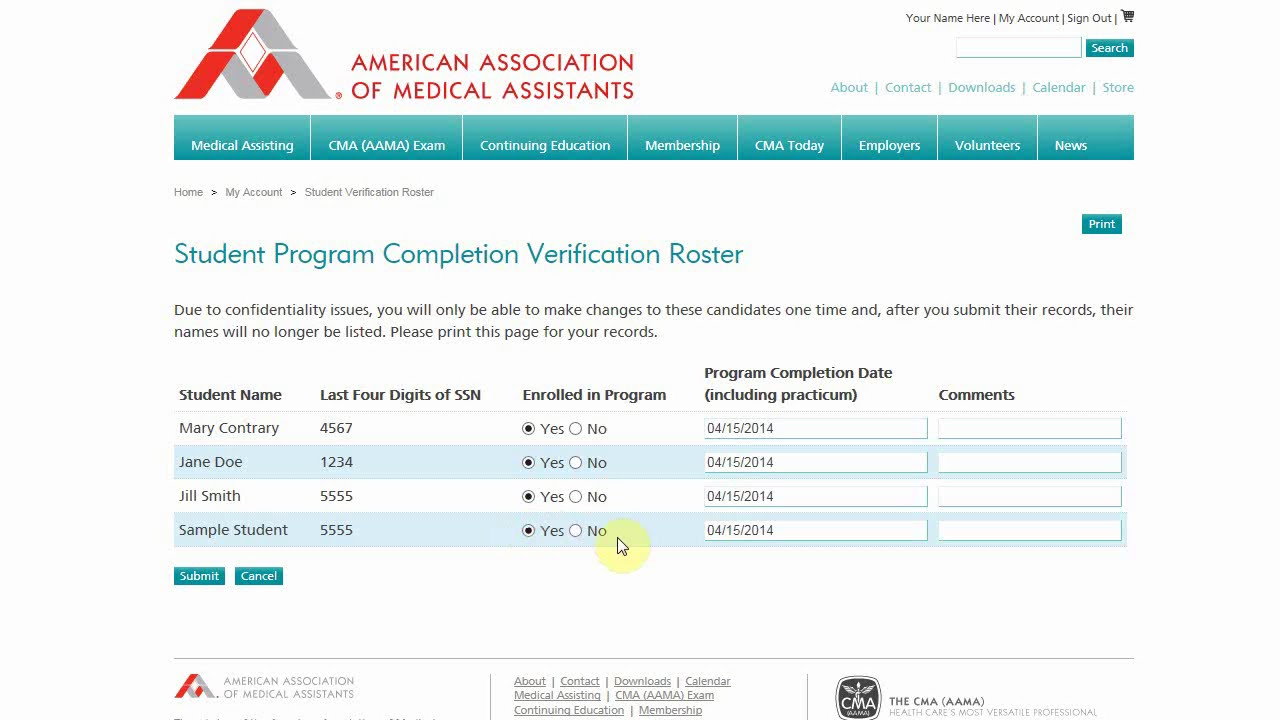 Aama Student Verification Roster Tutorials