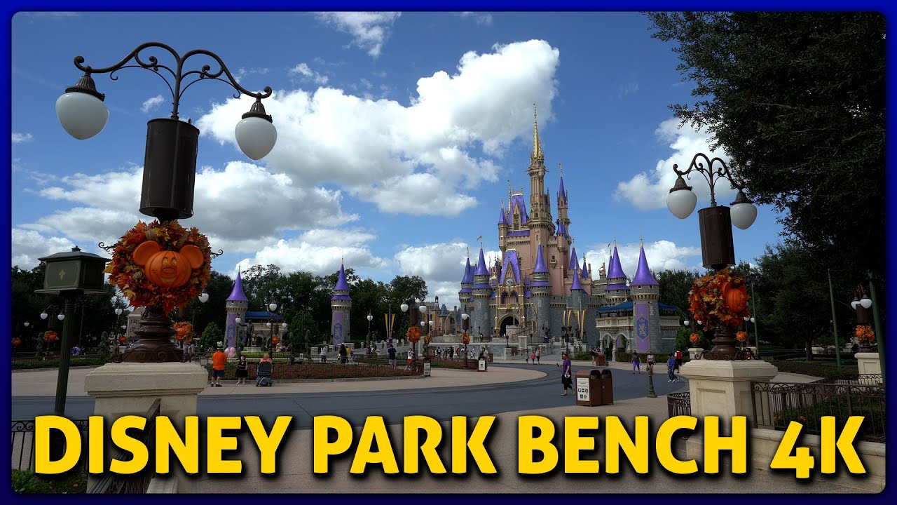 Cinderella Castle & Fall Decor at Magic Kingdom | Disney Park Bench 4K