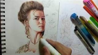 ELIZABETH SWANN BALLPOINT PEN DRAWING by: ARTHUR T. CORTEZ