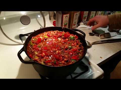 Beef Ribeye Chili In The Lodge 5 Quart Cast Iron Dutch Oven