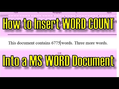 How To Insert WORD COUNT Into A MS Word Document