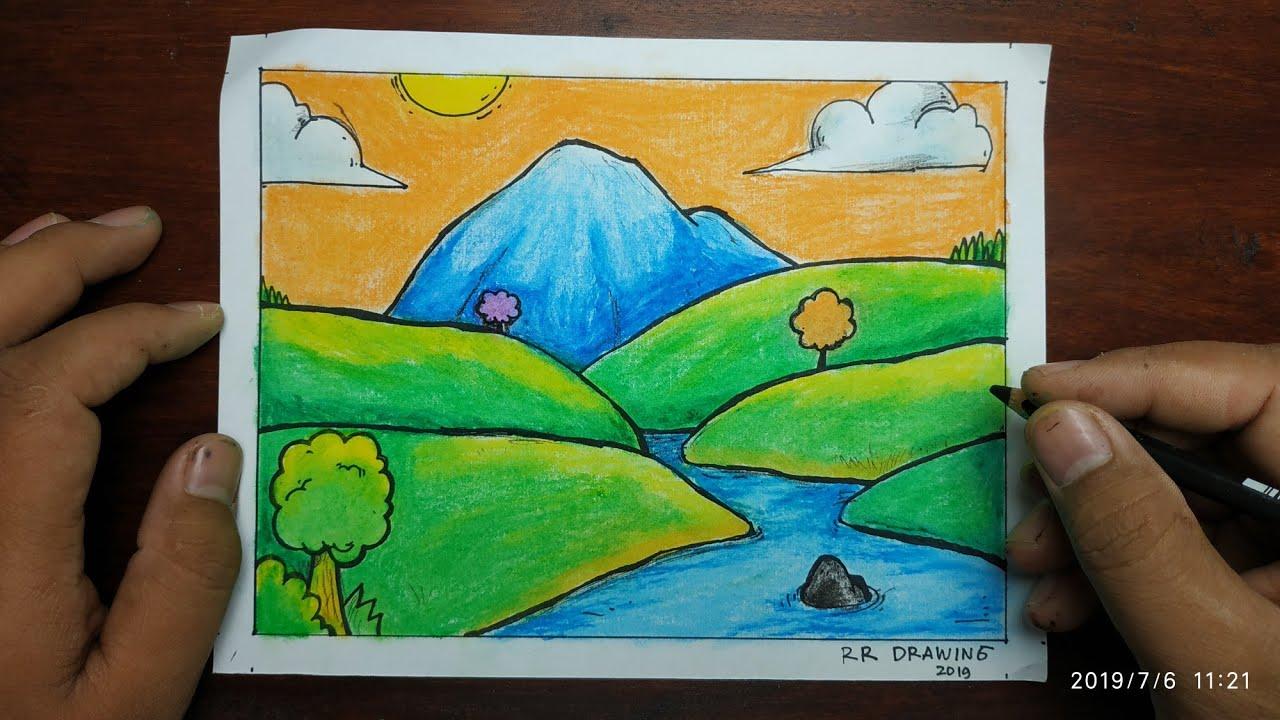 Cara Menggambar Pemandangan Alam Gunung Dan Sungai Sederhana Dan