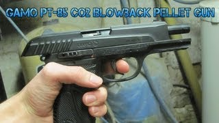 Gamo PT-85 Co2 Blowback Pellet Gun review and shooting in slow motion