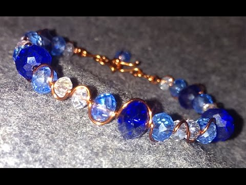 Simple bracelet with blue crystals - Handmade Jewelry Tutorials 93