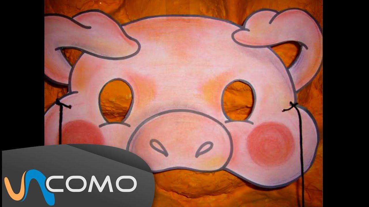 Hacer máscara infantil de cerdo - YouTube