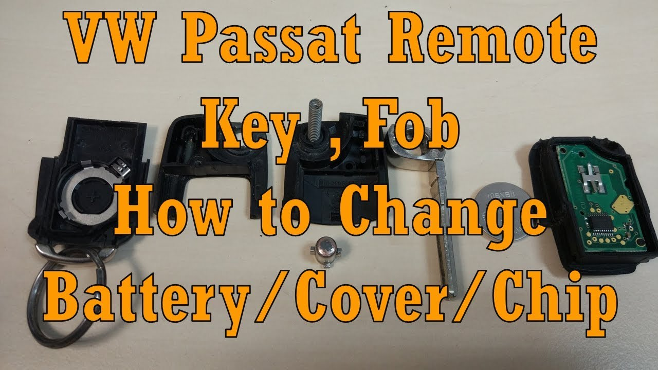 Volkswagen passat b5 remote key fob how to disassemble change battery cover chip spring flip