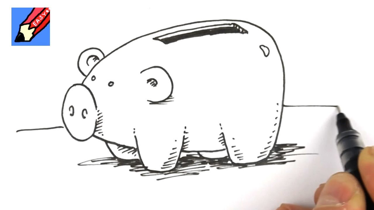 Line Drawing Piggy Bank : How to draw a piggy bank youtube