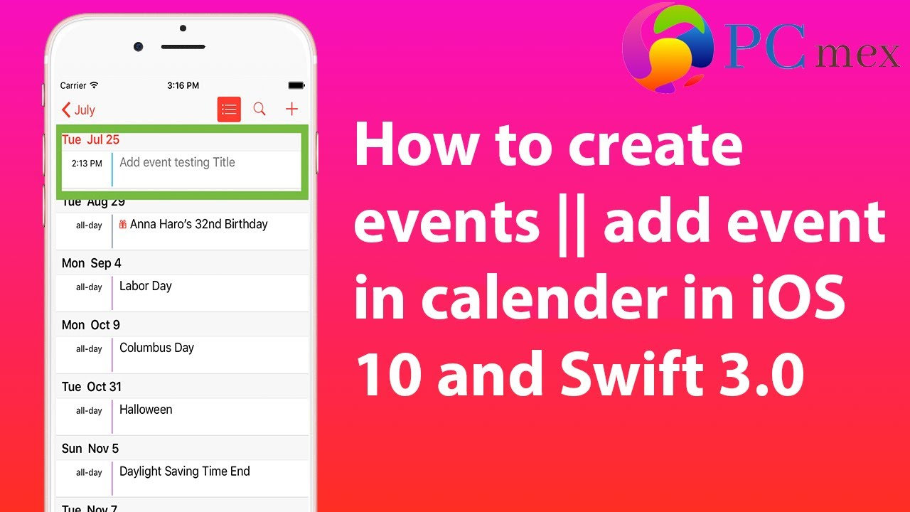 How to create events || add event in calender in iOS 10 and Swift 3 0