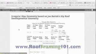 Irregular/bastard Hip Roof Rafter Construction Calculator