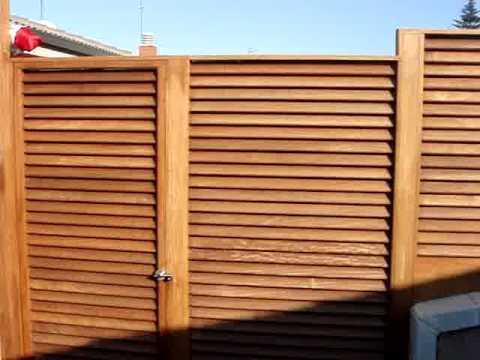 Vallas y puertas de madera de exteriores ipe modelo menorquina youtube - Puertas de madera exteriores ...