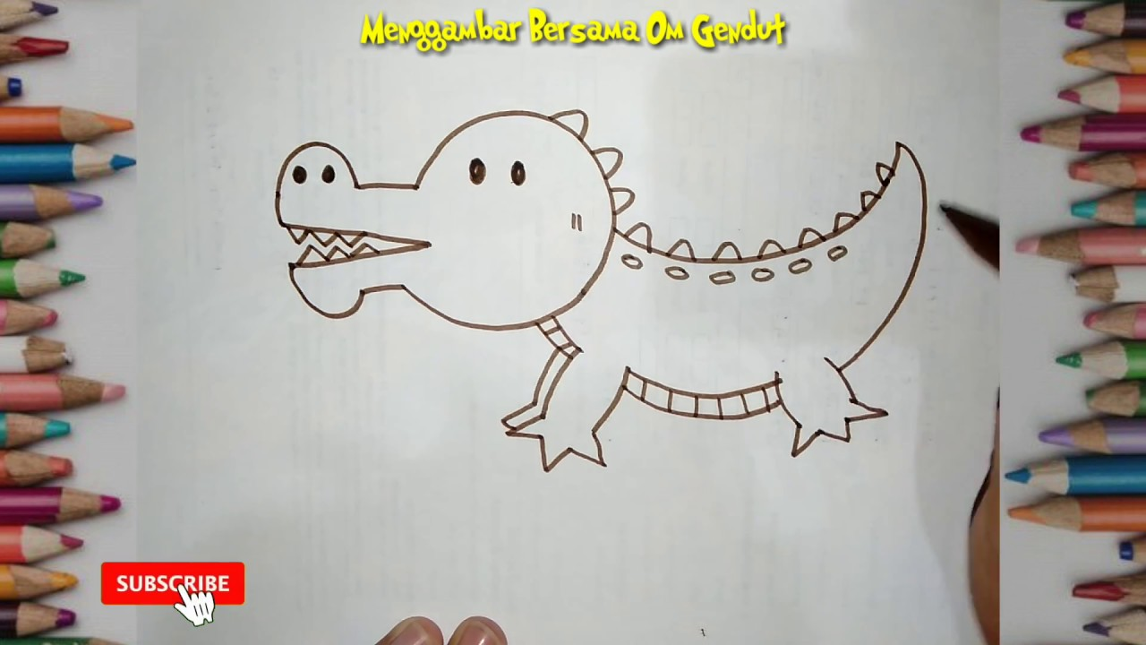 Cara Menggambar Buaya Dengan Sederhana How To Draw Crocodile In Simple Way