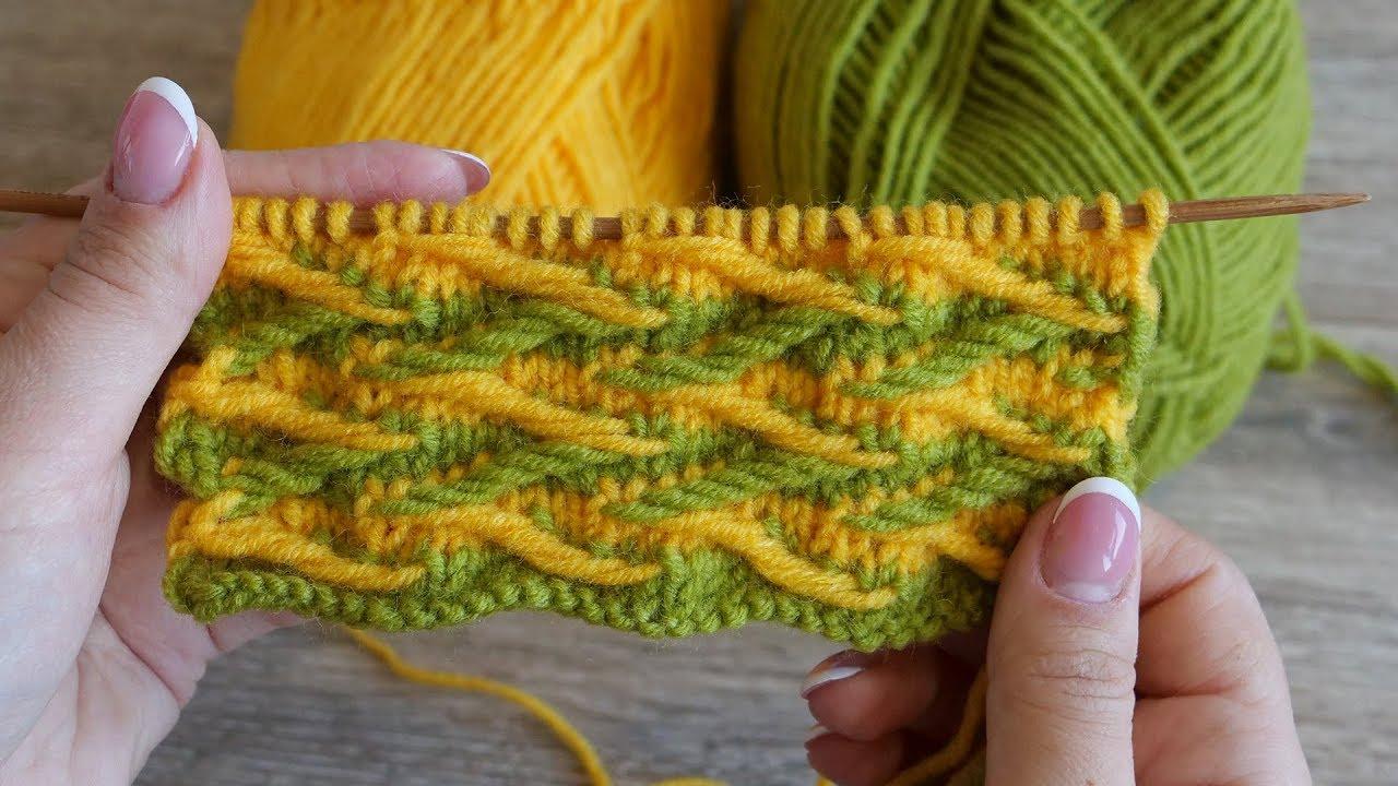 Двухцветный узор спицами – Ленивый жаккард | Two color Jacquard Stitch