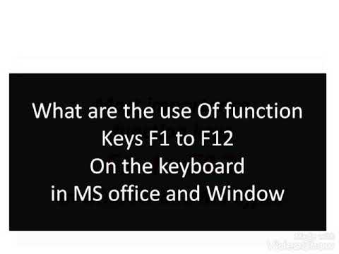 What Are The Use Of Function Keys F1 To F12