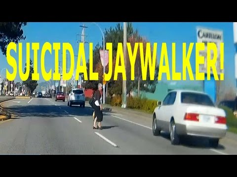 Suicidal Jaywalker Almost Gets Hit By a Car ! - Greater Vancouver Canada (Dash Cam)