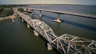 El puente de Santa Lucía desde un drone. Uruguay. Disfrutalo en full HD!