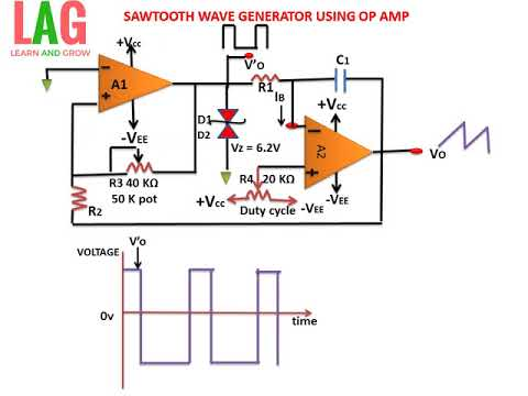 SAW TOOTH WAVE GENERATOR USING OP AMP(हिन्दी )!LEARN AND GROW