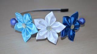 Цветы из лент Мастер класс канзаши ободок атласные цветы DIY flowers from ribbons kanzashi(Видео мастер класс канзаши цветы из лент покажет как своими руками сделать атласные цветы на ободке. Такой..., 2016-07-23T14:49:34.000Z)