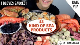 HUGE ASMR MUKBANG ! KING CRAB LEGS, STONE CRAB, SALMON, LUMPS ROE AND OTHERS !!