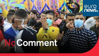 Palestinians in Gaza celebrate a dancing wedding despite coronavirus.