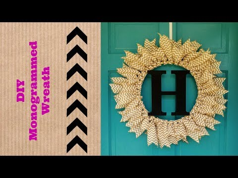 DIY Monogrammed Burlap Ribbon Wreath