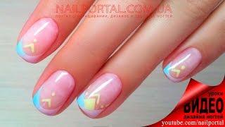 Дизайн ногтей гель-лак shellac - Френч + роспись (видео уроки дизайна ногтей)