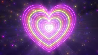Spinning Neon Love Heart Shapes Glow and Abstract Romantic Valentine 4K Motion Background for Edits