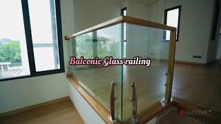 Balconic ราวกันตกกระจกภายในบ้าน ราวไม้สัก พร้อมทำสี กระจกนิรภัย Tempered Glass railing
