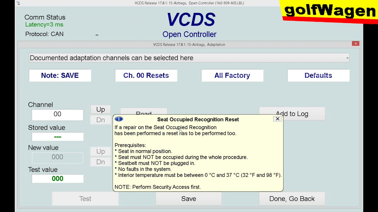 VCDS VAG seat occupied sensor reset on Seat, VW, Audi, Skoda /CAN/