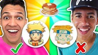 DESAFIO ARTE NA PANQUECA! Aprenda Como fazer Naruto, Goku, Meliodas & Pikachu - DIY Panqueca!