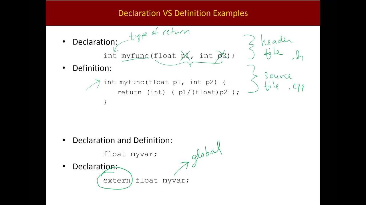 Declaration Vs Definition Youtube