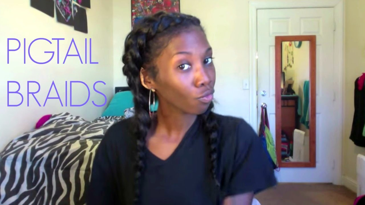 Two Double Dutch French Braid Cornrow Pigtails With Clip In Extensions Youtube
