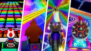 Evolution of all Rainbow Road Courses in Mario Kart Games starting ...