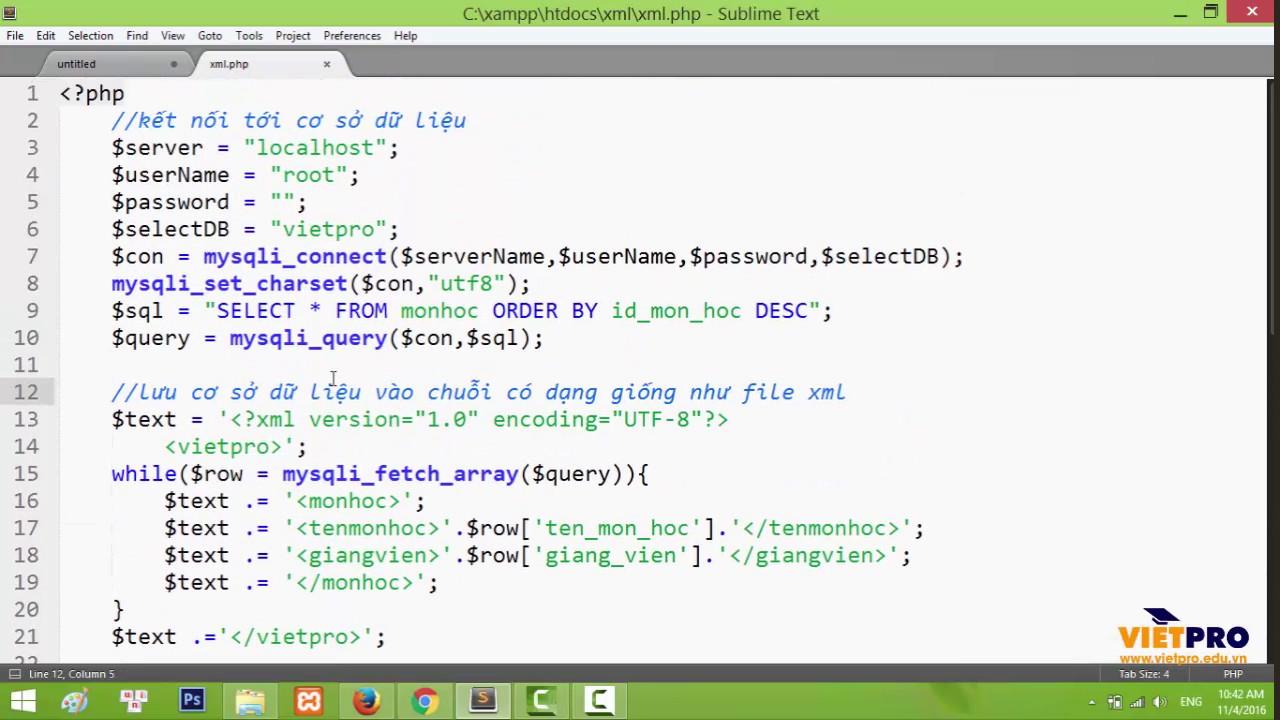 XML 04 – Tạo cơ sở dữ liệu XML bằng PHP