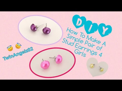 DIY - How To Make A Simple Pair Of Stud Earrings For Girls - Girls Jewelry Collection - Etsy