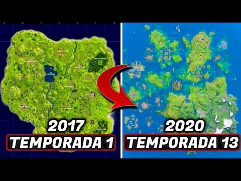 LA EVOLUCIÓN DEL MAPA DE FORTNITE | TODOS LOS MAPAS DE FORTNITE TEMPORADA 1-13 FORTNITE 2017-2020