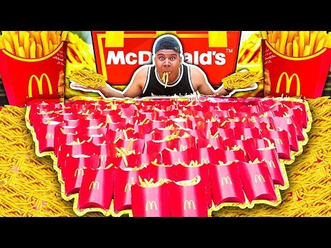 INSANE 100 McDONALD'S FRIES CHALLENGE (IMPOSSIBLE) *200,000 CALORIES*