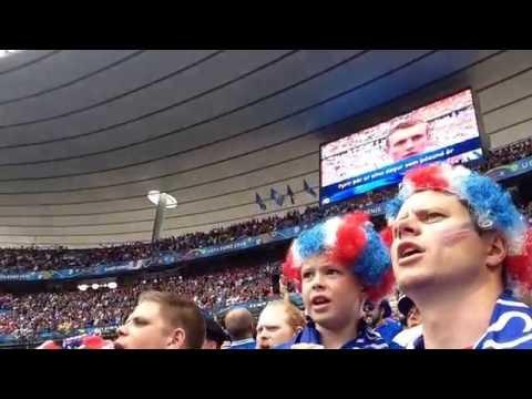 Iceland fans singing the National Anthem at Euro 2016 in Paris