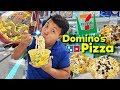 7-ELEVEN DOMINOS PIZZA (BOBA) & LUXURY Instant Noodles! 24 Hours Only Eating 7-ELEVEN in Taipei
