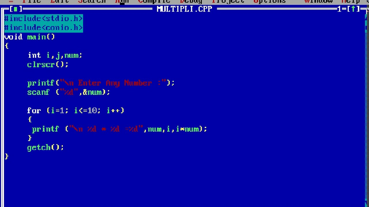 How To Write C Program To Print The Multiplication Table Of An Input