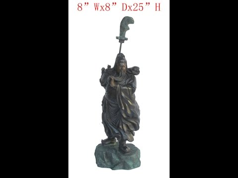 Chinese Antique Brass Hand Carving General Guan Statue WK2961